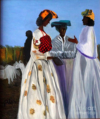 Three African Women Art Print by Pilar  Martinez-Byrne