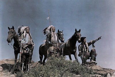 Three American Indians On The Crow Art Print by Edwin L. Wisherd
