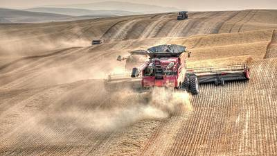 Jerry Sodorff Royalty-Free and Rights-Managed Images - Three And A Tractor 7120 by Jerry Sodorff