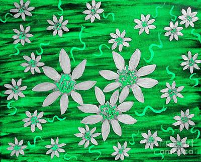 Painting - Three And Twenty Flowers On Green by Rachel Hannah