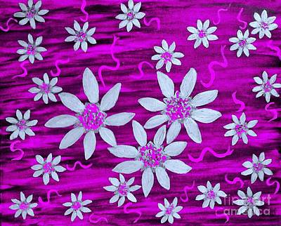 Painting - Three And Twenty Flowers On Pink by Rachel Hannah