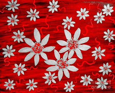 Painting - Three And Twenty Flowers On Red by Rachel Hannah
