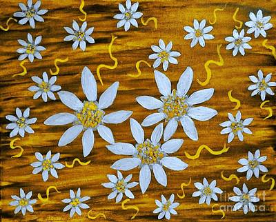 Painting - Three And Twenty Flowers On Yellow by Rachel Hannah