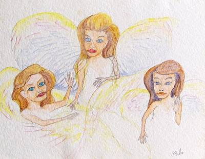 Angel Blues Drawing - Three Angels Here  by Kenneth Michur