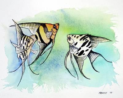 Anglefishes Painting - Three Anglefish by James Heroux