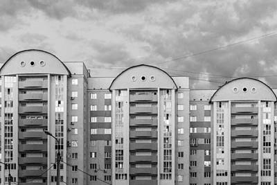 Bashkortostan Photograph - Three Apartment Buildings And Cloudy Sky by John Williams