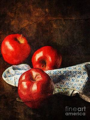 Apples Photograph - Three Apples Still Life by Amy Cicconi