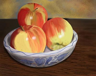 Digital Art - Three Apples by Victor Shelley