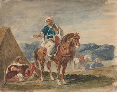 Drawing - Three Arab Horsemen At An Encampment by Eugene Delacroix