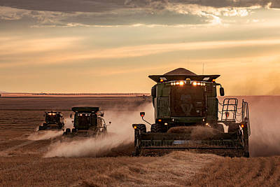 Wheat Silhouette Photograph - Three At Work by Todd Klassy