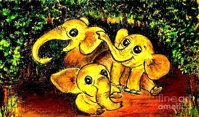 Painting - Three Baby Elephants by Hazel Holland