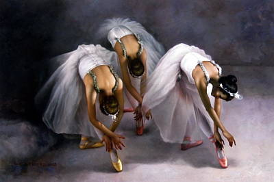 Painting - Three Ballerina by Yoo Choong Yeul