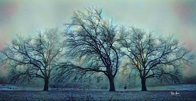 Row Mixed Media - Three Bare Trees by Russ Harris