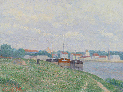 Divisionist Painting - Three Barges Moored On The Edge Of An Industrial City by Albert Dubois-Pillet