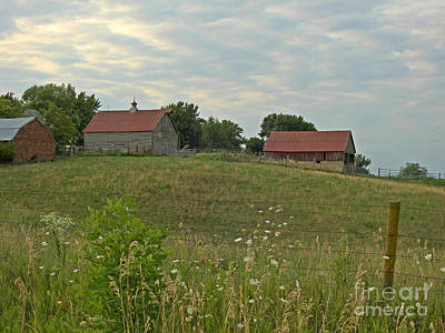 Photograph - Three Barns On A Hill by Kathy M Krause