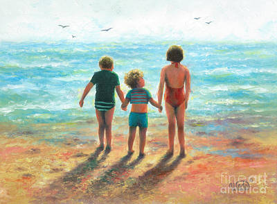 Two Sisters Painting - Three Beach Children Siblings  by Vickie Wade