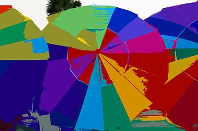 Three Beach Umbrellas Art Print by David Lee Thompson