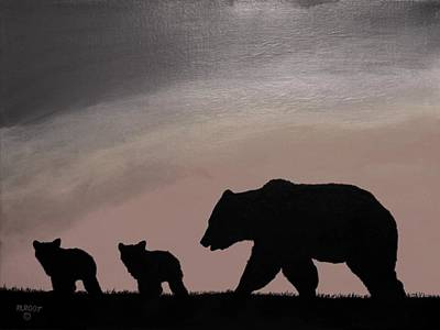 Painting - Three Bears, Black And Gray by Ralph Root