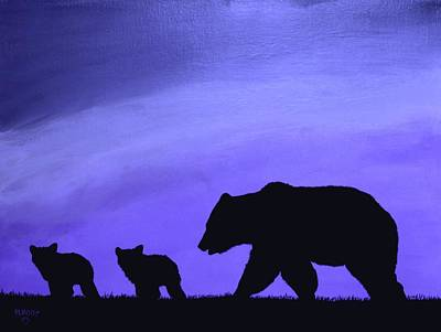 Painting - Three Bears, Blue by Ralph Root