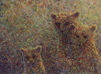 Abstract Wildlife Painting - Three Bears by James W Johnson