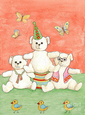 Painting - Three Bears Ready For The Party by Nareeta Martin
