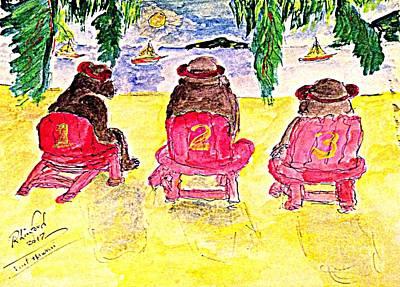 Painting - Watercolor Three Bears Visiting Hawaii by Richard W Linford