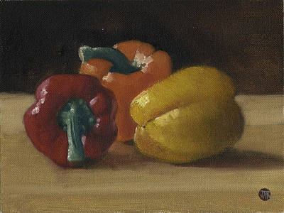 Three Bell Peppers Art Print by John Reynolds