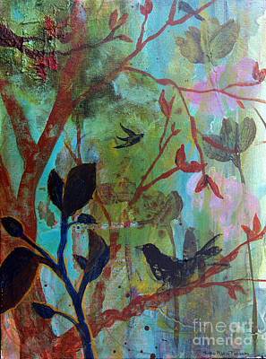 Painting - Three Birds Amongst Trees by Robin Maria Pedrero