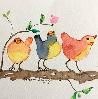 Painting - Three Birds  by Marcia Breznay
