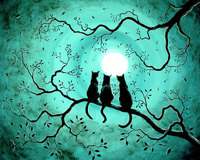Surreal Painting - Three Black Cats Under A Full Moon by Laura Iverson