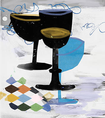 Painting - Three Black Champagne Cups by Amara Dacer