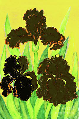 Painting - Three Black Irises, Painting by Irina Afonskaya
