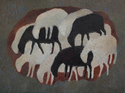 Painting - Three Black Sheep by Attila Meszlenyi