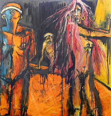 Painting - Three Blinded People by Kenneth Agnello