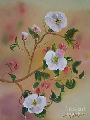 Painting - Three Blooms - Apple Orchard - Ellijay by Jan Dappen