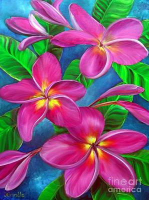 Plumeria Painting - Three Blooms In Pink by Jerri Grindle