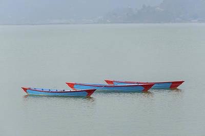Three Blue Boats On Phewa Lake In Pokhara Art Print