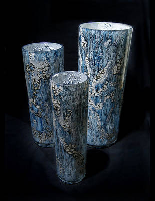 Mixed Media - Three Blue Cylinders by Christopher Schranck