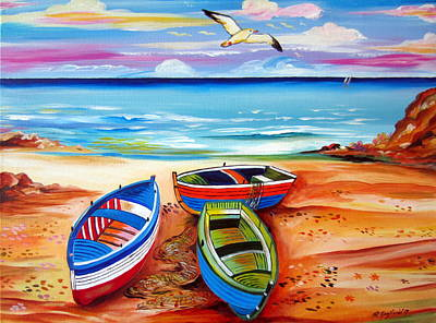 Painting - Three Boats And A Seagull by Roberto Gagliardi