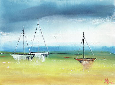 Painting - Three Boats by Anil Nene