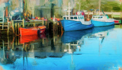 Digital Art - Three Boats In Peggys Cove by Ken Morris