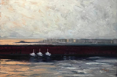 Painting - Three Boats by Laura Toth