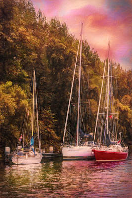 Photograph - Three Boats On The River At Sunset In Autumn by Debra and Dave Vanderlaan