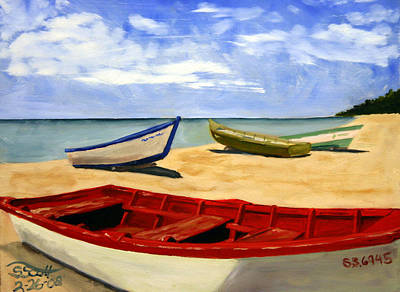 Painting - Three Boats by Steven Scott