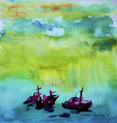 Painting - Three Boats by Wanvisa Klawklean
