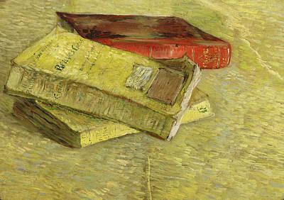 Bookshelf Painting - Three Books, 1887 by Vincent Van Gogh