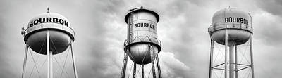 Photograph - Three Bourbon Whiskey Towers Panorama - Monochrome by Gregory Ballos