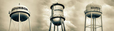 Photograph - Three Bourbon Whiskey Towers Panorama - Sepia by Gregory Ballos