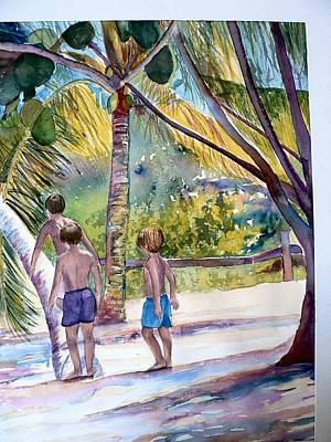Painting - Three Boys Climbing by Lynne Atwood