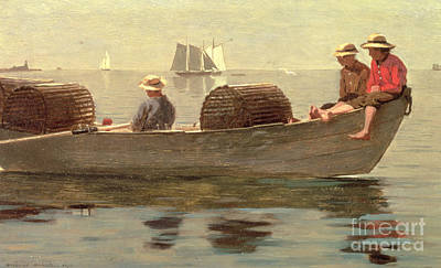 Boats In Reflecting Water Painting - Three Boys In A Dory by Winslow Homer
